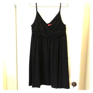 Black jersey dress with cross draped top